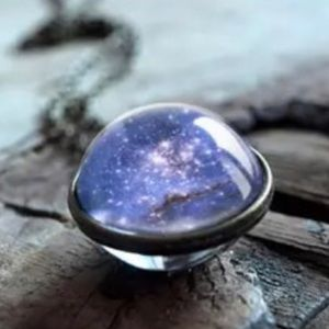 Galaxy double globe necklace